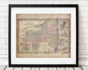 New York Map Print, Vintage Map Art, Antique Map,  Map of New York State, Old Map, New York Art, NY Gifts, New York Print, State Map