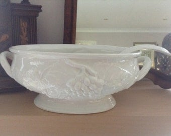 White Vintage China Soup Tureen and Ladle, serving dish, perfect for display