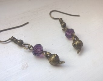 purple sparkly teapot earrings, dangly teapot earrings, beaded earrings, drop earrings, tea earrings, bronze earrings, gift for her