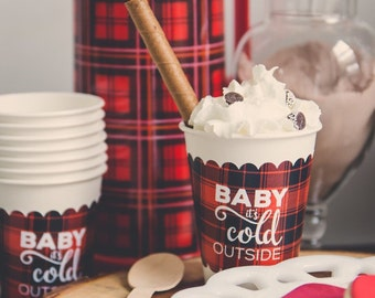 Plaid Coffee Cup Sleeves | Hot Cocoa Bar |  Hot Cocoa Cup Sleeves | Paper Cup Sleeve