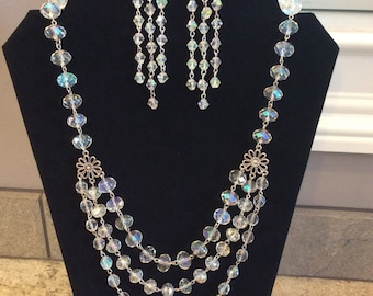 26' Swarovski Crystal Clear AB Necklace and FREE Matching Earrings