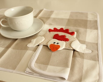 Set of 2 placemats with napkins