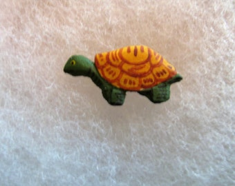 Turtle Jewelry Pin - handcarved and handpainted