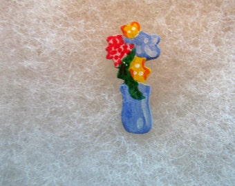 Flower Pot (version 2) Jewelry Pin - handcarved and handpainted