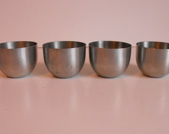 Four Pewter Jefferson Cups by Leonard Pewter Tumblers   (80)