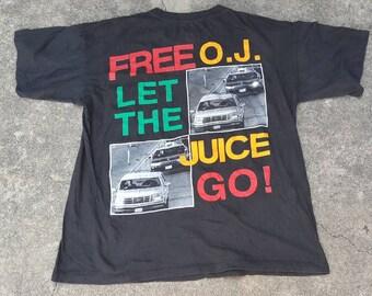 Vintage OJ Simpson Free O.J. Let The Juice Go Shirt Raptees Rare