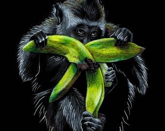 Monkey with banana print - art print, pencil drawing, animal print, wall art