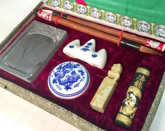 Vintage Chinese Calligraphy Writing Set