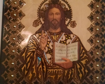 Jesus Christ icon hanging wood picture, perfect gift, Handcrafted etched wood