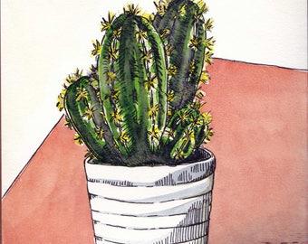 Aquarelle originale cactus