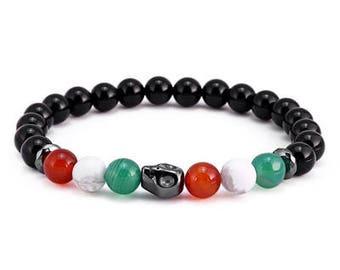 Red/White/Green Skull Bracelet for Men | BraceletsDR