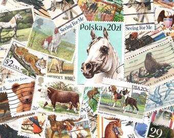 40 Animal Themed Vintage Postage Stamps