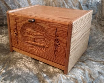 Carved Front Bread Box