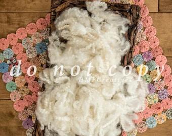 Newborn Digital Backdrop with Pom Pom Blanket