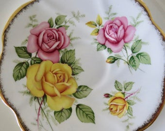 Rosina Orphan Saucer, Pink & Yellow Roses, Bone China, Replacement Only,  No Teacup