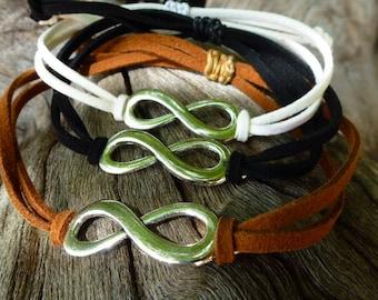 Infinity Bracelet multi strand, Bracelet, jewelry, unisex jewelry men, fathers day, gift of friendship, charm, infinity, Brown, black, white