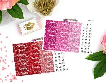 Glitter Date Covers, glitter date cover stickers, date cover stickers, planner stickers, glitter stickers