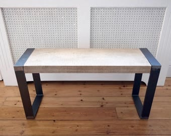 Oak Bench with Industrial Steel Legs - Handmade, Industrial Chic, Rustic Bench/Seat/Seating