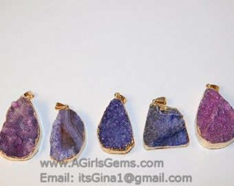 Amethyst Pink Purple Druzy Oval Pendant Charm Jewelry Druzy Handmade Jewelry Finding Single Loop Pendant Making Druzy