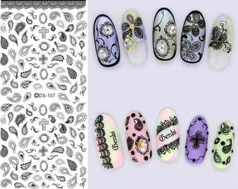 Gothic Halloween Festival Cross Paisley Nail Decals Tattoo Water Transfer B003