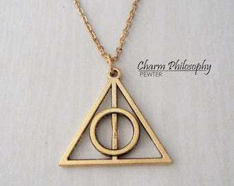 Gold Deathly Hallows Symbol Necklace - Harry Potter Inspired Jewelry - Antique Gold Jewelry