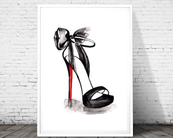 Christian Louboutin Illustration, Fashion Wall art, Fashion Print, Fashion Sketch, High heel shoes decorations, Fashion poster, watercolor