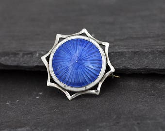 Vintage Art Deco 935 silver and blue enamel brooch