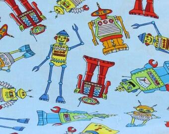 Robots Fabric on Blue