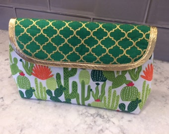 Cactus Makeup Bag with Brush Holder. Makeup Bag. Cosmetic Bag. Makeup Organizer. Travel Bag.