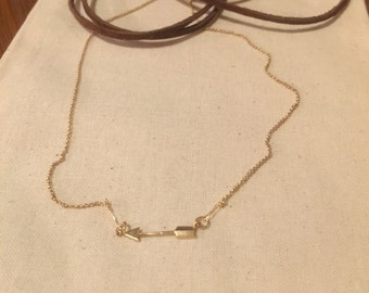 NEW gold arrow chain and leather necklace