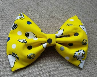 Snoopy hair bow Snoopy and woodstock hair bow Charlie Brown hair bow yellow and black hair bow fabric hair bow Woodstock hair bow