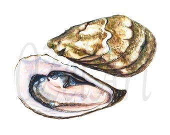 Digital Download Art, Oyster Watercolor, Printable Art, DIGITAL Download, Illustration, Oyster Home Kitchen Decor, Restaurant Decor Wall Art