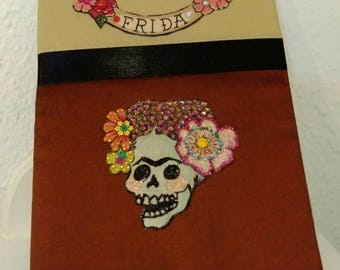 Scary Frida bling notepad - Frida Kahlo sparkly skull notebook - great gift - Ooak