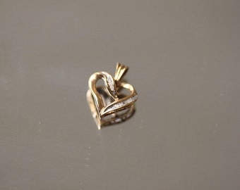 Cute 10K .10 CTW Genuine Diamond Cross over Heart Pendant / Charm in Yellow Gold