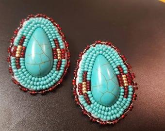Beaded earrings turqiouse stone