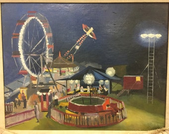 Mid-Century Fairgrounds Oil Painting