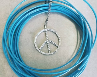 electric cable peace and love pendant