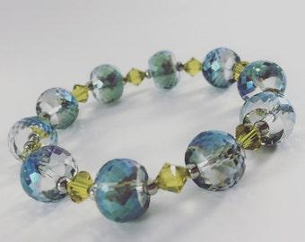 Teal Blue Glass beaded bracelet with Swarovski crystals