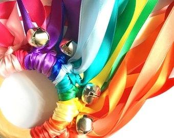 Rainbow Hand Kite, Fairy Wand, Flower Girl Gift, Ribbon Streamers, Waldorf Montessori Toy, PERSONALIZED