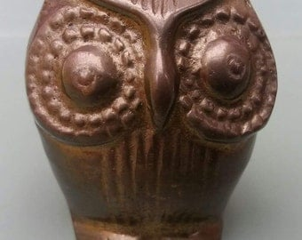 Brass owl, small, paperweight, vintage, retro