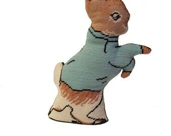 Peter Rabbit Decorative Needlepoint Pillow / Doorstop Beatrix Potter Nursery Decor