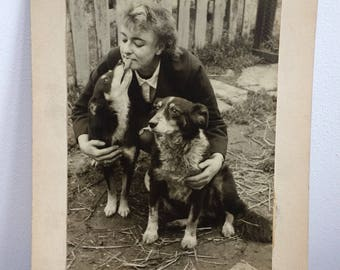 The Dog Lady Vintage Original Photo Print, mounted - Best Friends Forever