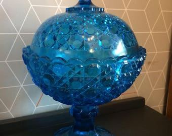 Large Antique Bright Blue Pressed Hobnail Glass Bonbonniere, Candy Bowl with lid