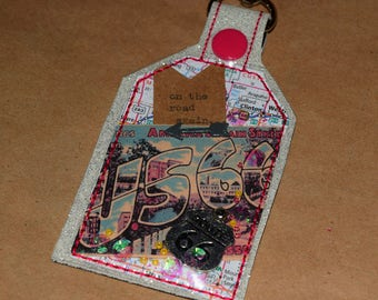 On The Road Again Route 66 Travel One of a Kind Mixed Media Tag Keychain