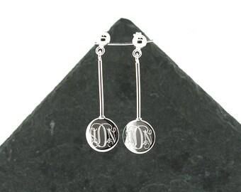 925 Sterling Silver Disc Dangle Stud Monogram Earrings, Round Circle Earrings, Dangling Earrings