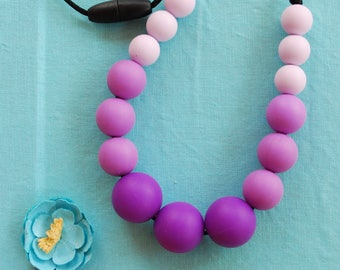 Purple violet and lilac teething necklace