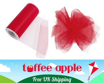 6 Inch (152mm) Red Nylon Net Tulle Ribbon