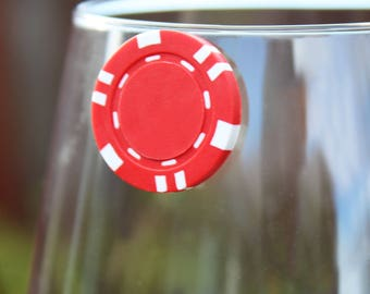 Poker Chip Magnetic Wine Charms | Set of 8 | High Quality Stemless Wine Tags Drink Markers by Claim Your Glass | Great Poker Gift!