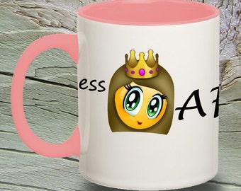Personalized Emoji Coffee Mug, PRINCESS AF Mug, Accent Coffee Mug, Coffee Mug, Funny Coffee Mug, Emoji Mug, Emoticon Mugs
