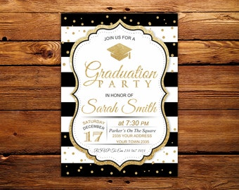 Graduation Invitation. Black & White Stripe. Graduation Party Invitation. Black, White and Gold Graduation Party.